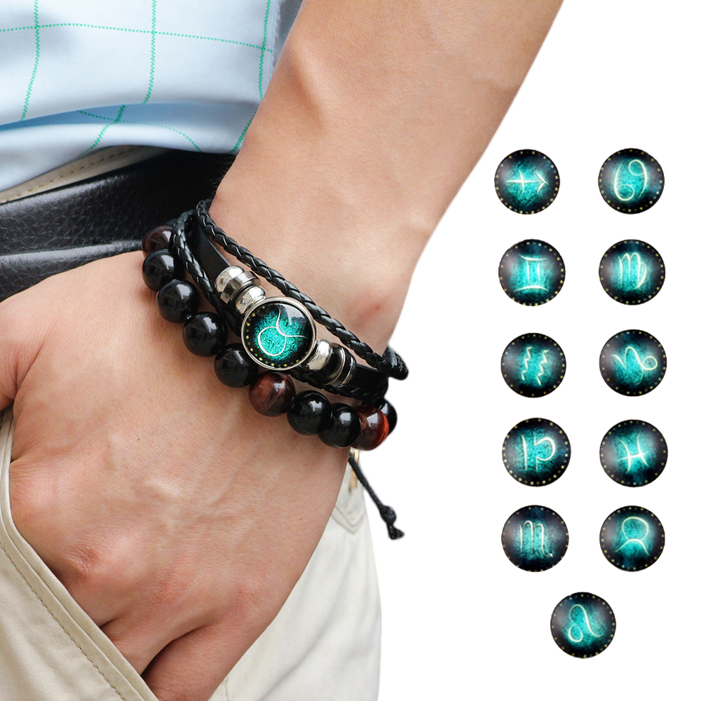 Precise 12 Constellation Zodiac Sign Black Braided Leather Bracelet Cancer Leo Virgo Libra Woven Glass Dome Jewelry Punk Men Bracelet Discounts Sale Charm Bracelets