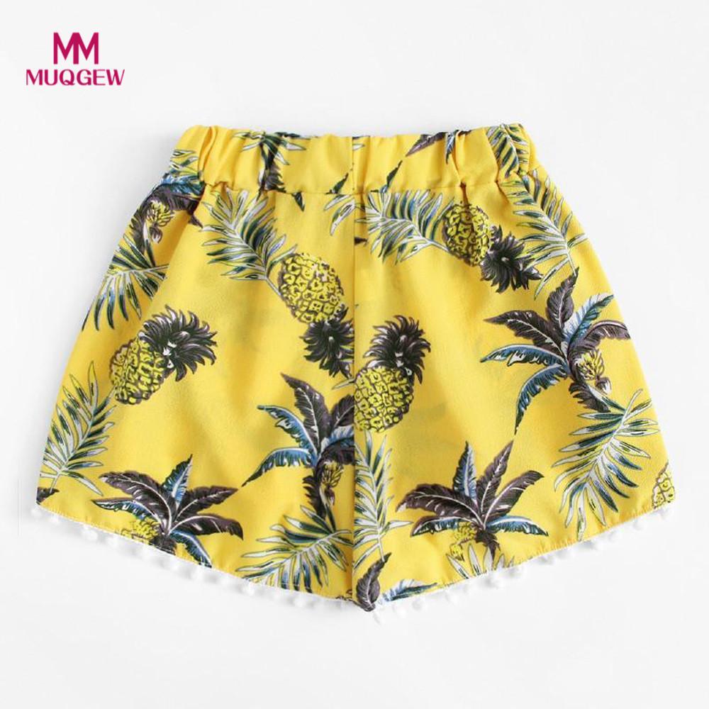 Womens pineapple printing shorts with mid waist loose shorts elastic waist shorts pantalones cortos con cintura alta dropshippin