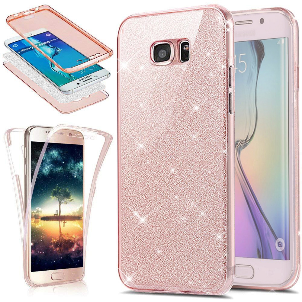 360 Full Protection Glitter Silicone Case for Coque Samsung Galaxy S10e Plus S6 S7 S8 S9 S10 Note <font><b>8</b></font> <font><b>9</b></font> <font><b>5</b></font> J4 J6 Plus A7 2018 Funda image