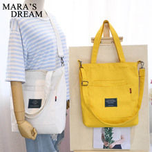 Mara's Dream Women Simple Big Capacity Canvas Bag Vintage Zipper Flap B
