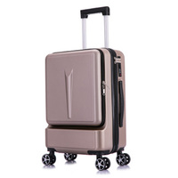 PC+ABS business rolling luggage front open computer bag male 20boarding chassis women's suitcase 24 hard side hand luggage car