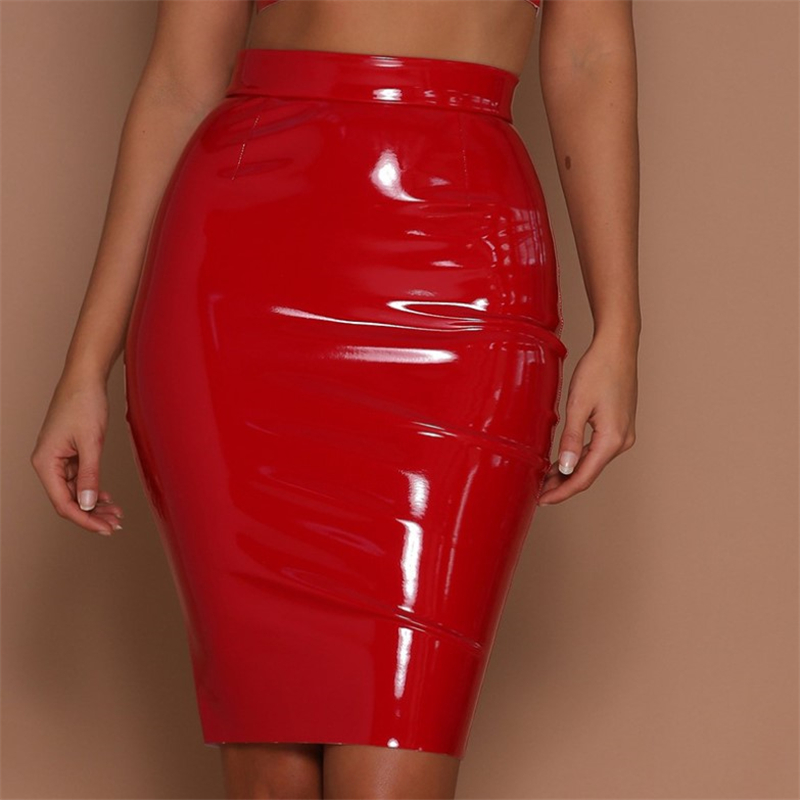 TiaoBug Women Shiny Wet Look PU Leather Skirt Sexy Ladies Club Party Bodycon Female Knee-Length High Waist Slim Hip Pencil Skirt