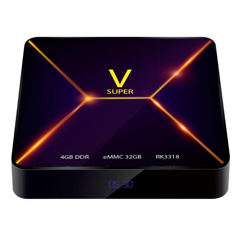 Super V RK3318 Android 9.0 Smart TV Box Quad Core 4 GB RAM 32 GB ROM lecteur multimédia Support WIFI Bluetooth 100x100x17mm