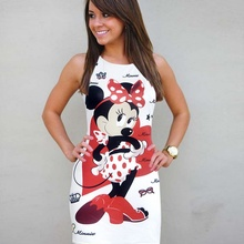 5XL Big Size Women Summer Sweet Cartoon Print Casual Dress W