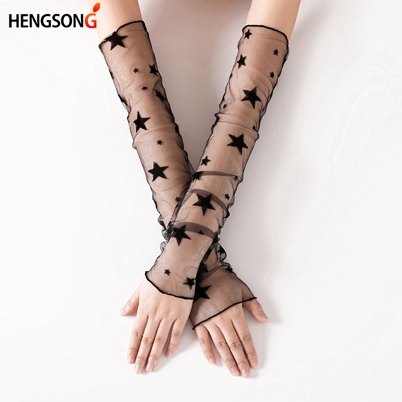 Hengsong summer lace resistant thin sleeved women star dots mesh gloves ice sleeve driving sun protection women long gloves
