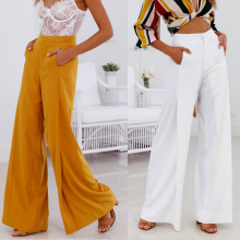 Women Orange White Wide Leg Chiffon Pants Plus Size High Waist Tie Front Trousers Palazzo OL Elegant Pants Long Culottes Pants недорого