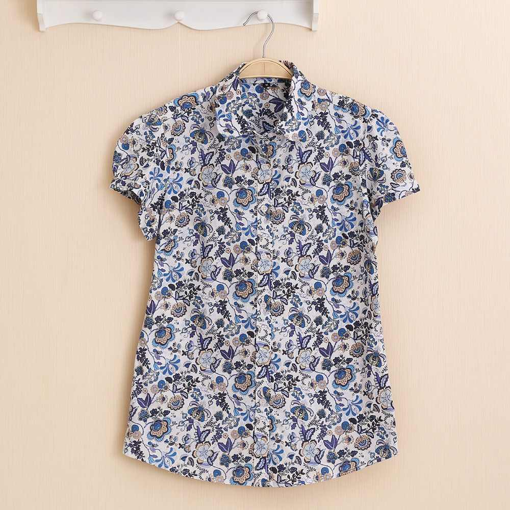 Dioufond Women Summer Tops Plus Size Short Sleeve Shirt Beach Cotton Floral Blouse Turn Down Collar Shirt Blusa Women Casual Top