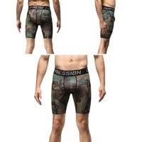 Mannen Sneldrogend Compressie Bodybuilding Camouflage Compressie Strakke Ademende Broek Oefening Shorts