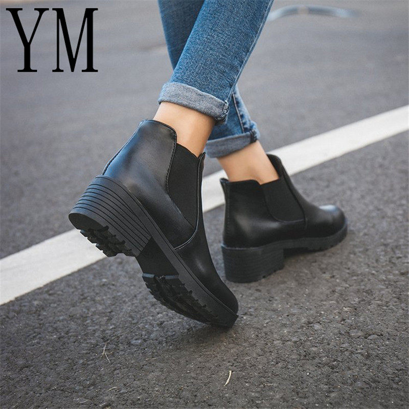 Spring/autumn New Hot Selling Style Fashion Women Boots Round Head Thick Bottom Pu Leather Waterproof Woman Martin Boots Ankle цена 2017