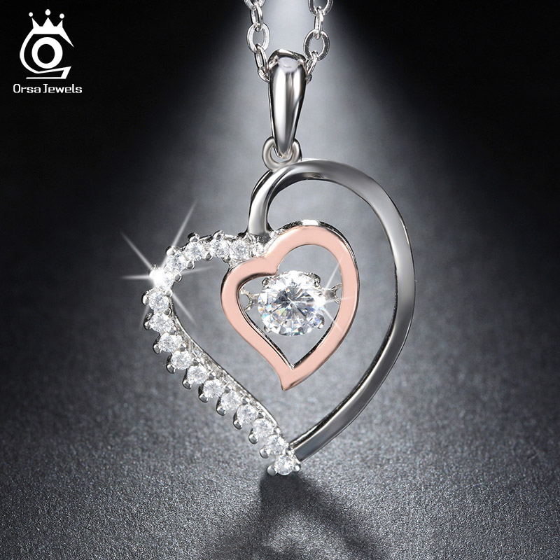 Sterling Silver Double Heart Pendant Necklaces Rose Gold Plated Genuine Silver Zircon