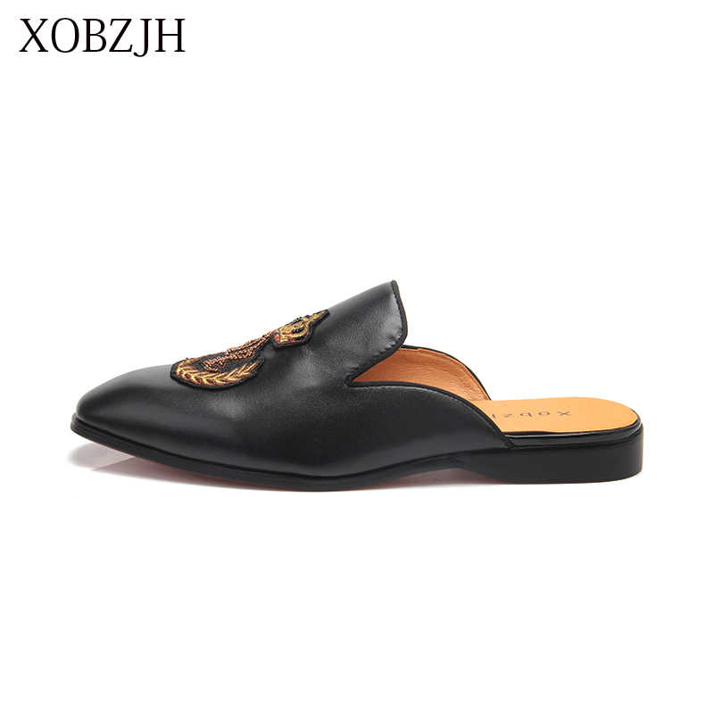 XOBZJH 2019 Men Shoes Man Summer Party Shoes Men New Handmade Leisure Flats Leather Loafers Shoes Black Size Shoes