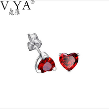 Trendy White 100% Real 925 Sterling Silver Earrings for Women Jewelry Cubic Zirconia Luxury Garnet Heart Stud Earring CE111