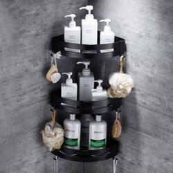 1/2/3 Tier aluminium półki łazienkowe czarne akcesoria łazienkowe prysznic półka narożna szampon regał magazynowy kosz łazienkowy w Półki łazienkowe od Majsterkowanie na