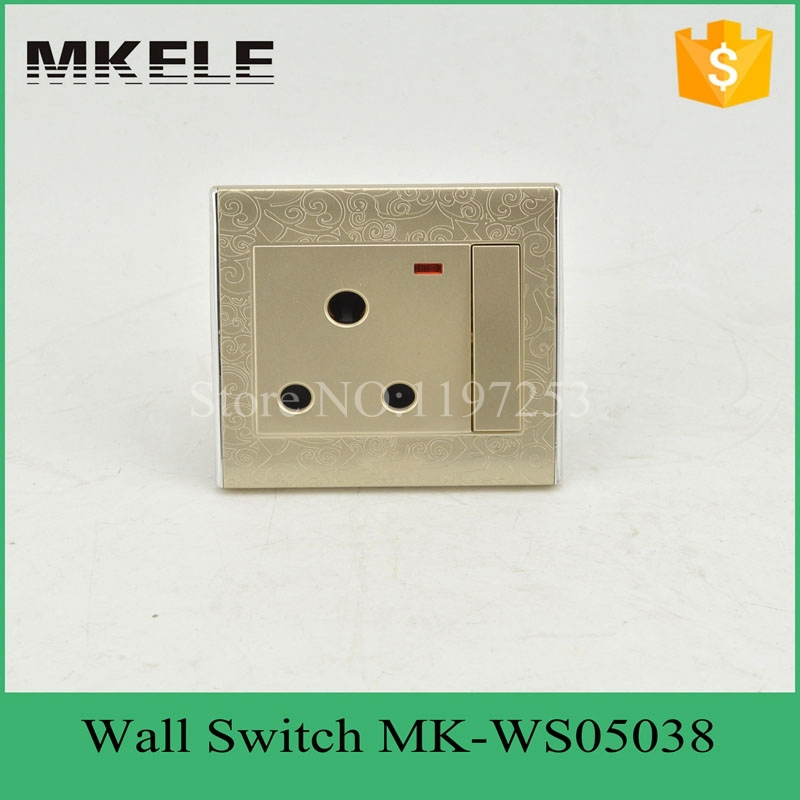 MK-WS05038 Free Shipping New PC Flame Retardant Material 15A 1Gang 3 Pin Switched with Neon,South Africa South Africa Wall Switc