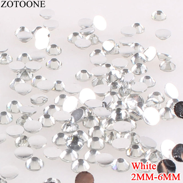 ZOTOONE White Resin Strass Applique Stones And Crystals Non Hotfix Flatback  Ground Nail Rhinestones For Clothing Decoration E 12de35694a58