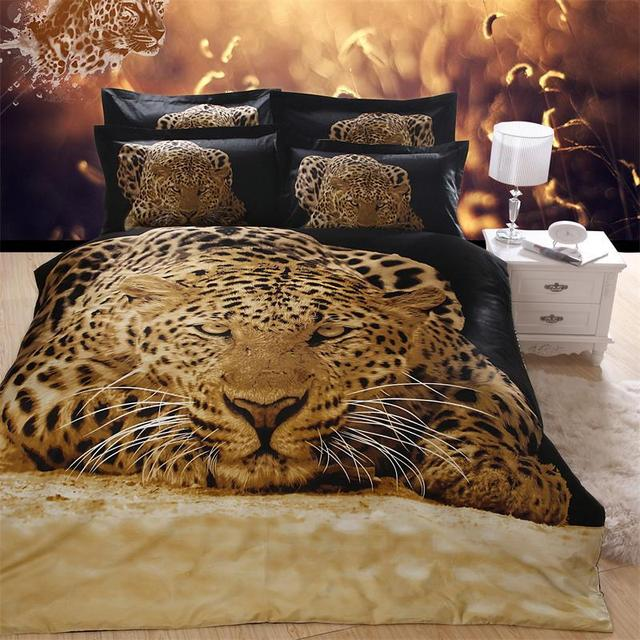 Fashion Cheetah 3D Animal Leopard Print Bedding Set Queen Size ...