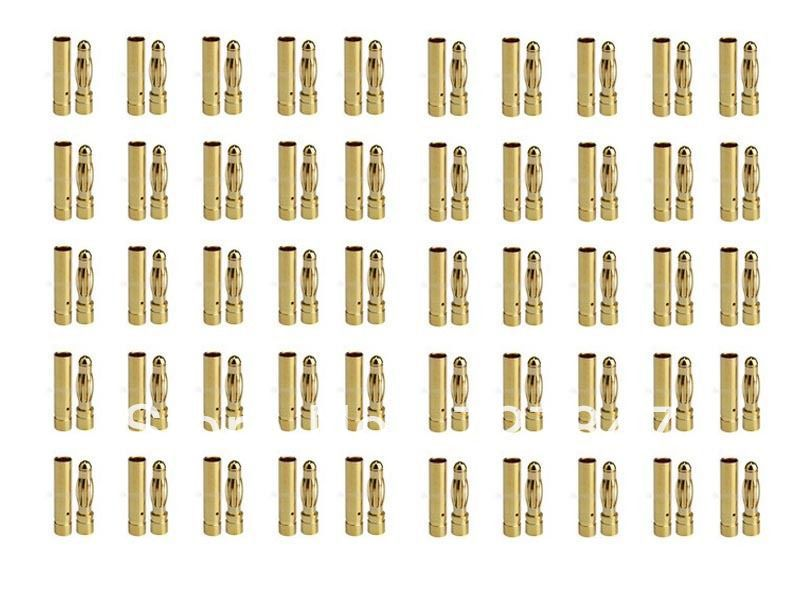 200 pairs 4 0 4 mm banana connector plug Gold Bullet Connector free shipping 6 0