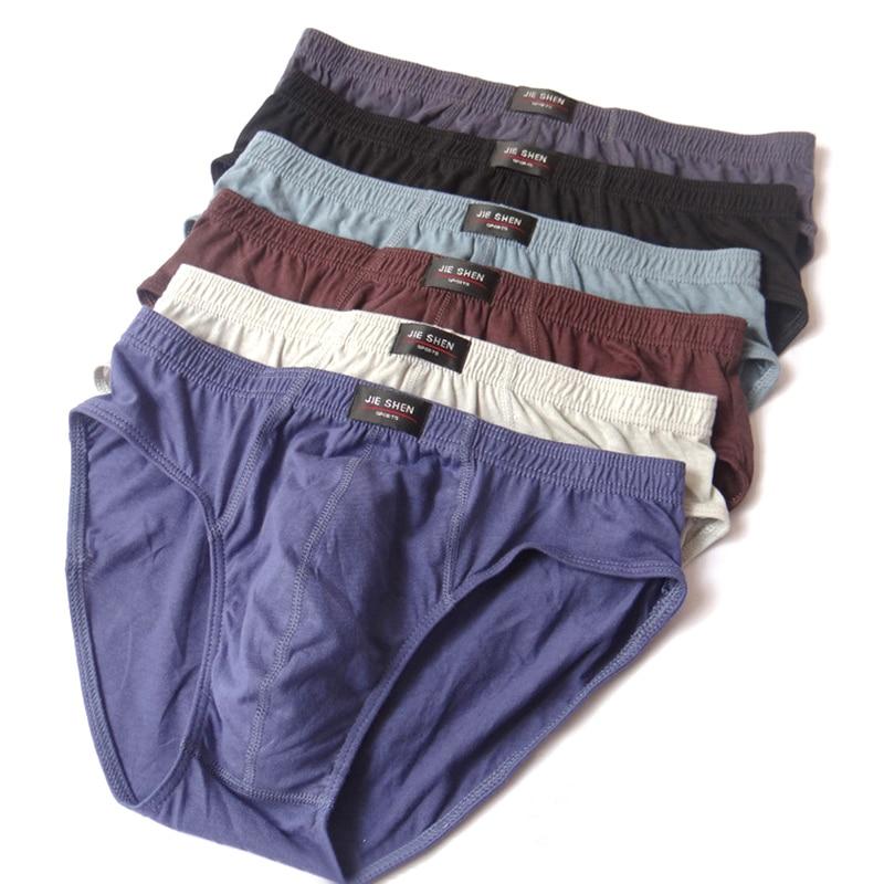 New 1PC Hot Sale High Quality Plus Size Solid Cotton Breathable Men Briefs Sexy Men Underwear Panties Briefs 7Colors