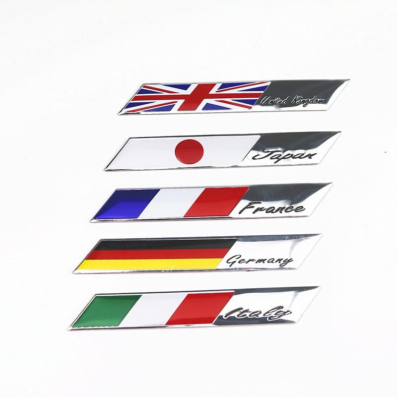Aluminum Germany Italy France Japan Flag Car Sticker Emblem Badge Sticker For Bmw Fiat VW Ford Audi Renault Opel Peugeot Toyota