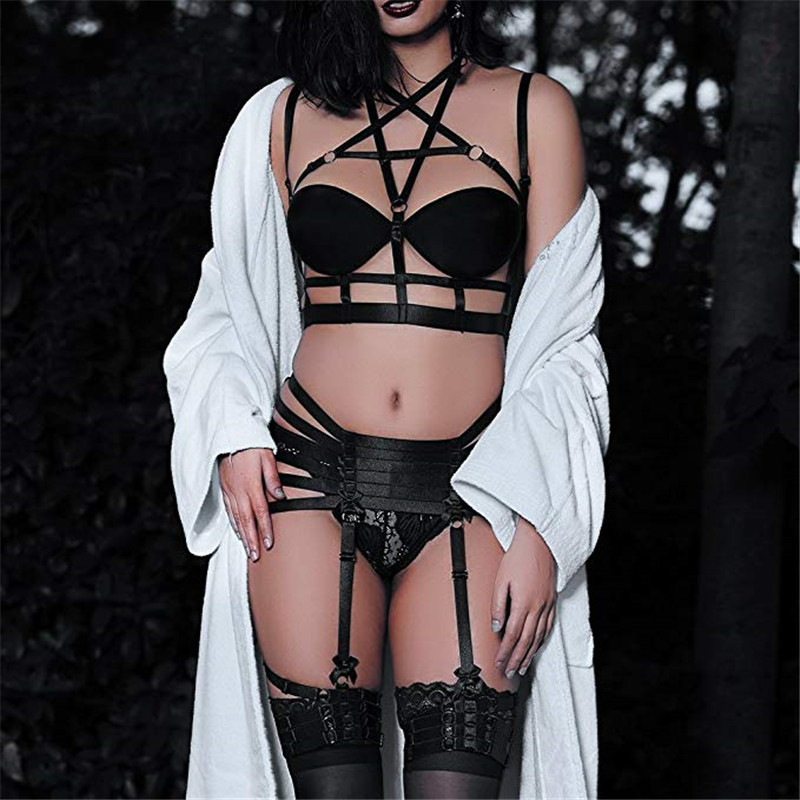 4 pièces/ensemble Femmes Sexy sous-vêtements érotiques Corps Bondage Lingerie Ceinture Pour Dames Évider Étoiles Pentagramme taille elastique Jambe Ceintures