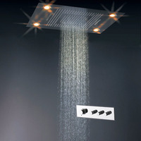 Multi function Bathroom LED Shower Head Set Thermostatic Shower Mixer Faucet Diverter Ceiling Mounted Rainfall Waterfall Luxury