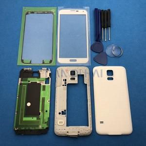 Image 3 - Tam konut Case kapak yedek parçalar Samsung Galaxy S5 SV G900 I9600 + dış cam + Sticker + araçları