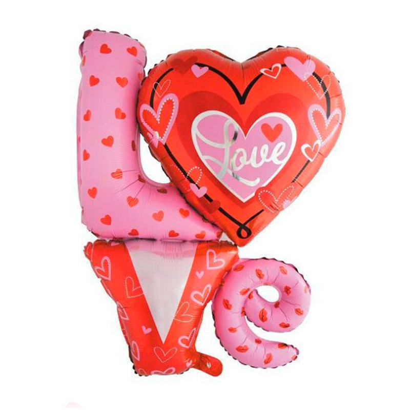 1pc 36inch Large size Love Shaped Foil Balloons Wedding Party Decoration Bola Valentines Day Supplier Air Balloons
