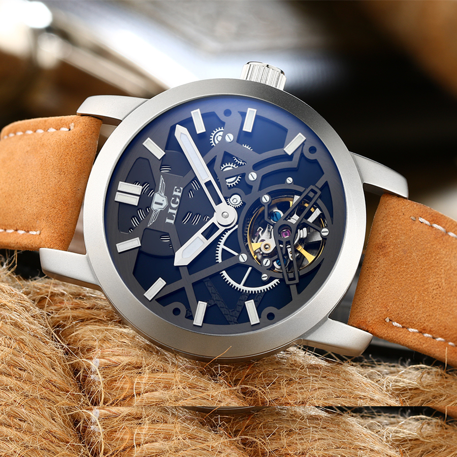 LIGE Men's Skeleton WristWatch 3D face Genuine Leather Casual sport Automatic Skeleton Mechanical Watches Male Relojes 2016 NEW novel new skeleton face men automatic watches self wind leather belt casual wristwatch sports designer gear frame relojes nw4509