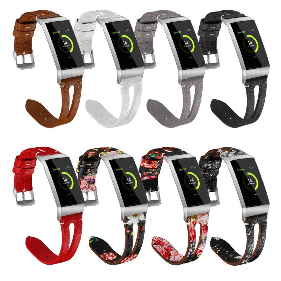 Strap für Fitbit Gebühr 3 Smartwatch Ersatz Leder Band Armband Männer Frauen Smart Uhr Zubehör Blume Muster