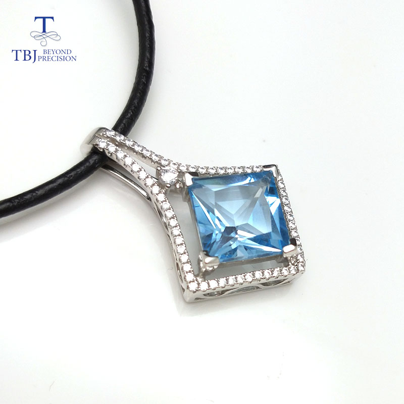 цена на TBJ ,Square shape pendant in 925 sterling silver with nautral sky blue topaz princess cut luxury shiny pendant for women as gift