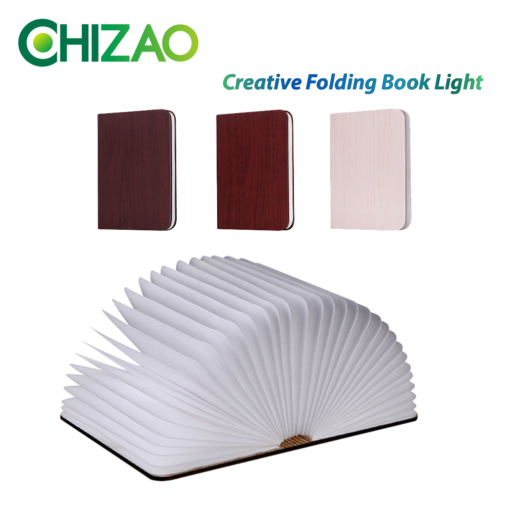 CHIZAO Creative LED Lamp Portable Decorative lights Ambient Light Foldable Led Book Shape Night Light Table lamp USB Chargeable zakoo colorful cool led night light chargeable battery bedside lamp 3 modes square creative lamp table night lamp bar light
