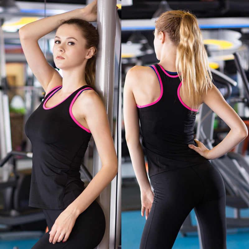 8fca68b464cb6 Новый женские спортивные брюки для занятий йогой Топ Фитнес Спортивная  сумка без рукавов футболки женский сухой