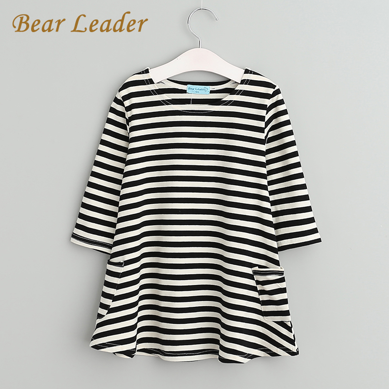 Bear Leader Girls font b dresses b font 2015 New spring autumn casual style Asymmetrical striped