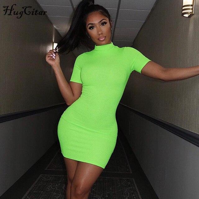 Hugcitar מצולעים לסרוג ניאון ירוק orange קצר שרוול t חולצה bodycon מיני שמלת 2019 קיץ נשים streetwear מסיבת בגדים