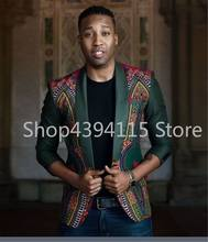 African Hot Sale African Clothing Sale Men Africa Bazin Riche 2019 New Men's Folk Style Printing Long Sleeved Suit Slim(China)