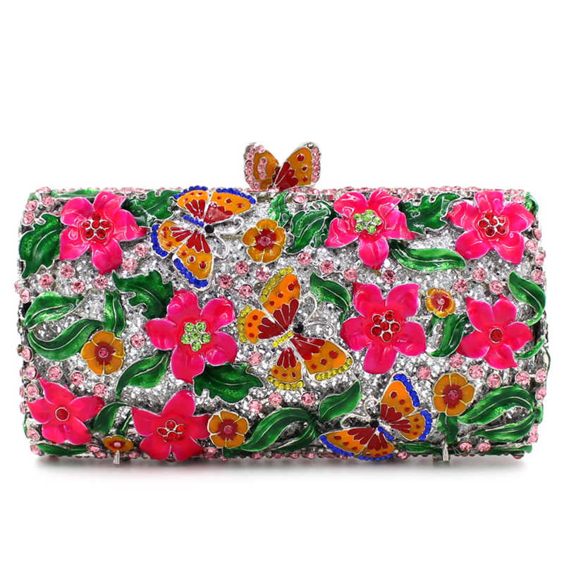 2019 Новое поступление фиолетовый цветочный клатч вечерние сумки синий игла с цанговым зажимом женские зеленые листья вечерние сумочки мини клатч
