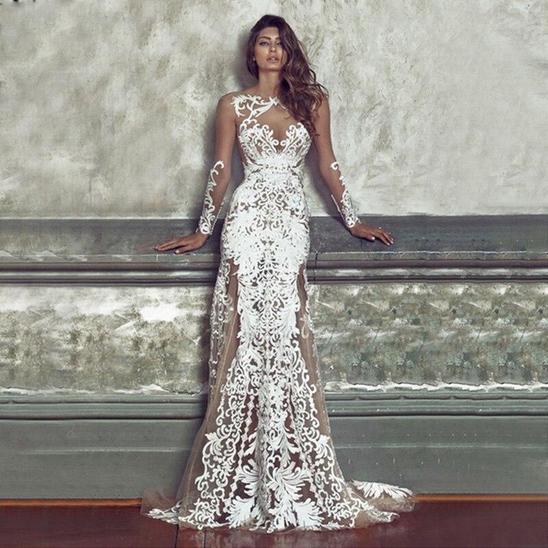 Femmes luxueux Floral fête longue dentelle blanche robes Vintage moulante Sexy dos nu étage longueur soirée Maxi robe de haute qualité