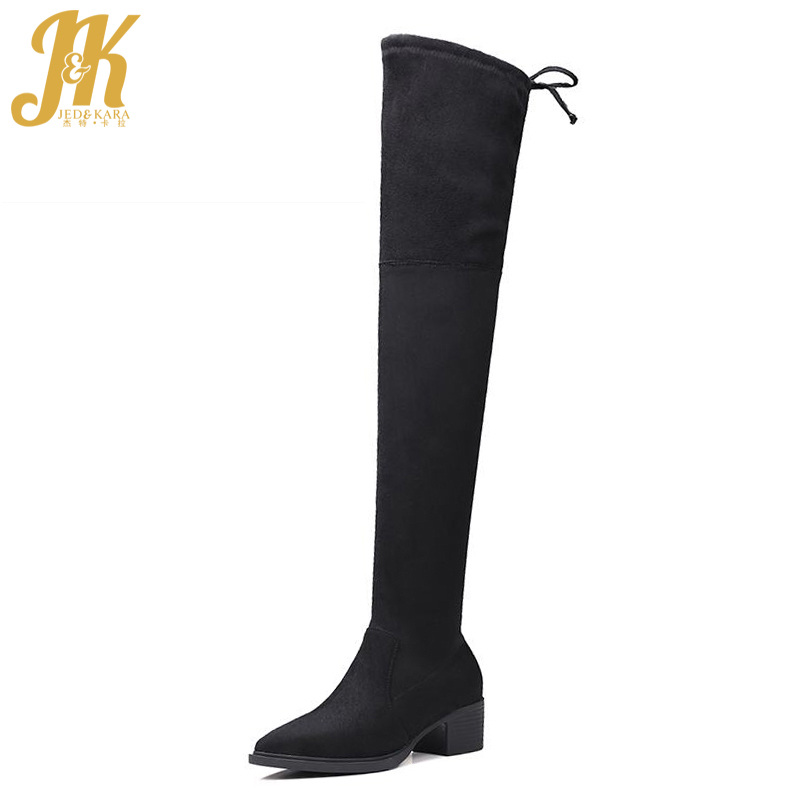 Fashion 2017 Nubuck Sexy Thigh High Boots Lace Up Pointed Toe Shoes Woman High Quality Platform Solid Fall Winter Boots high quality lace up nubuck short boots women thick high heels platform shoes woman with fur skid proof fall winter suede boots