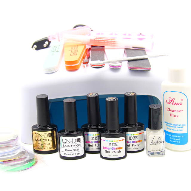Newest Gel Nail Set With 36W UV Lamp + 3 Color Temperature Gel Nail Base Gel Top Coat Polish With Remover Practice Set File Kit