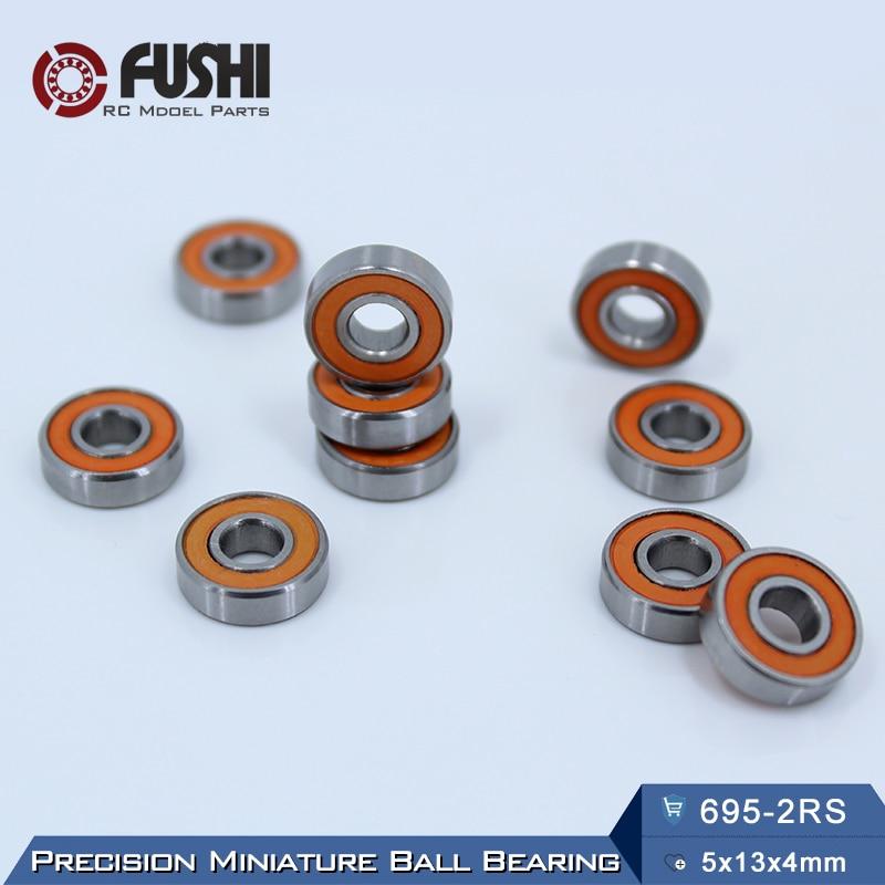 695-2RS Bearing ABEC-3 10PCS 5x13x4 mm Miniature 695RS Ball Bearings 619/5RS Z2V1 Orange Sealed bearing 695 2RS 1pcs 71901 71901cd p4 7901 12x24x6 mochu thin walled miniature angular contact bearings speed spindle bearings cnc abec 7