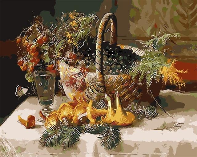 Jamur Dan Pinus Jarum Gambar Abstrak Lukisan Minyak Gambar Mewarnai