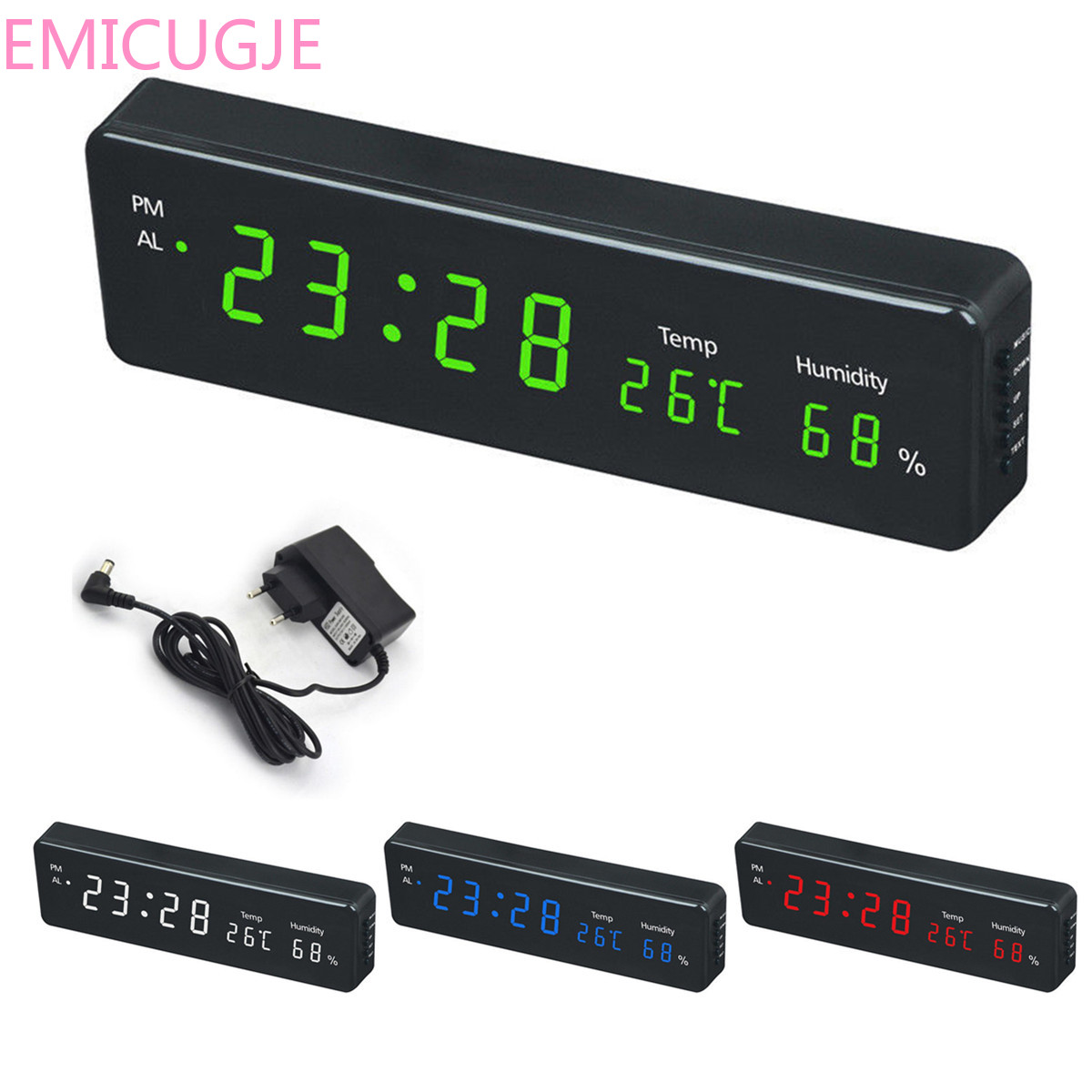 Table Clocks Electronic LED Wall Watch Decor EU Plug Digital Wall Clock Big LED Time Calendar Temperature Humidity Display Desk