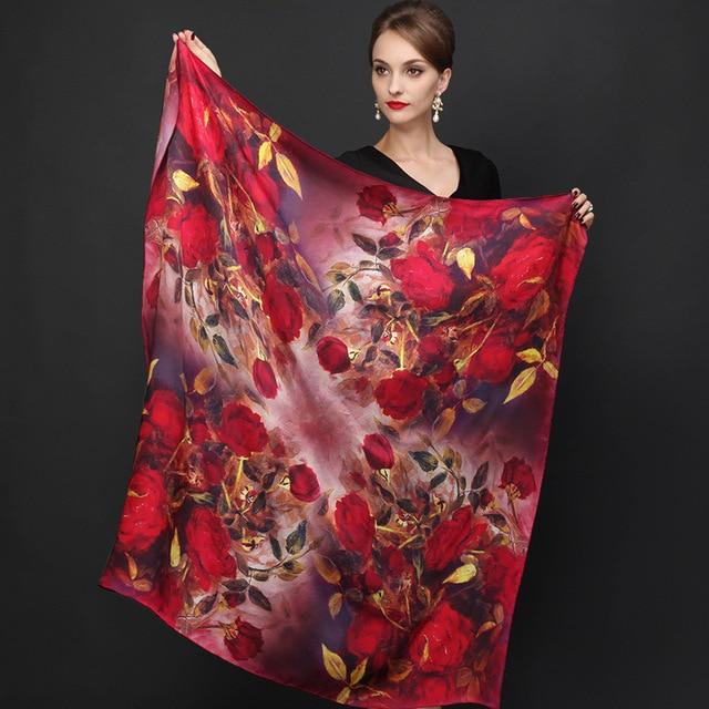 winter high quality 100% real silk satin Scarf Shawl wrap women female fashion big square style pattern Scarves 105x105CM