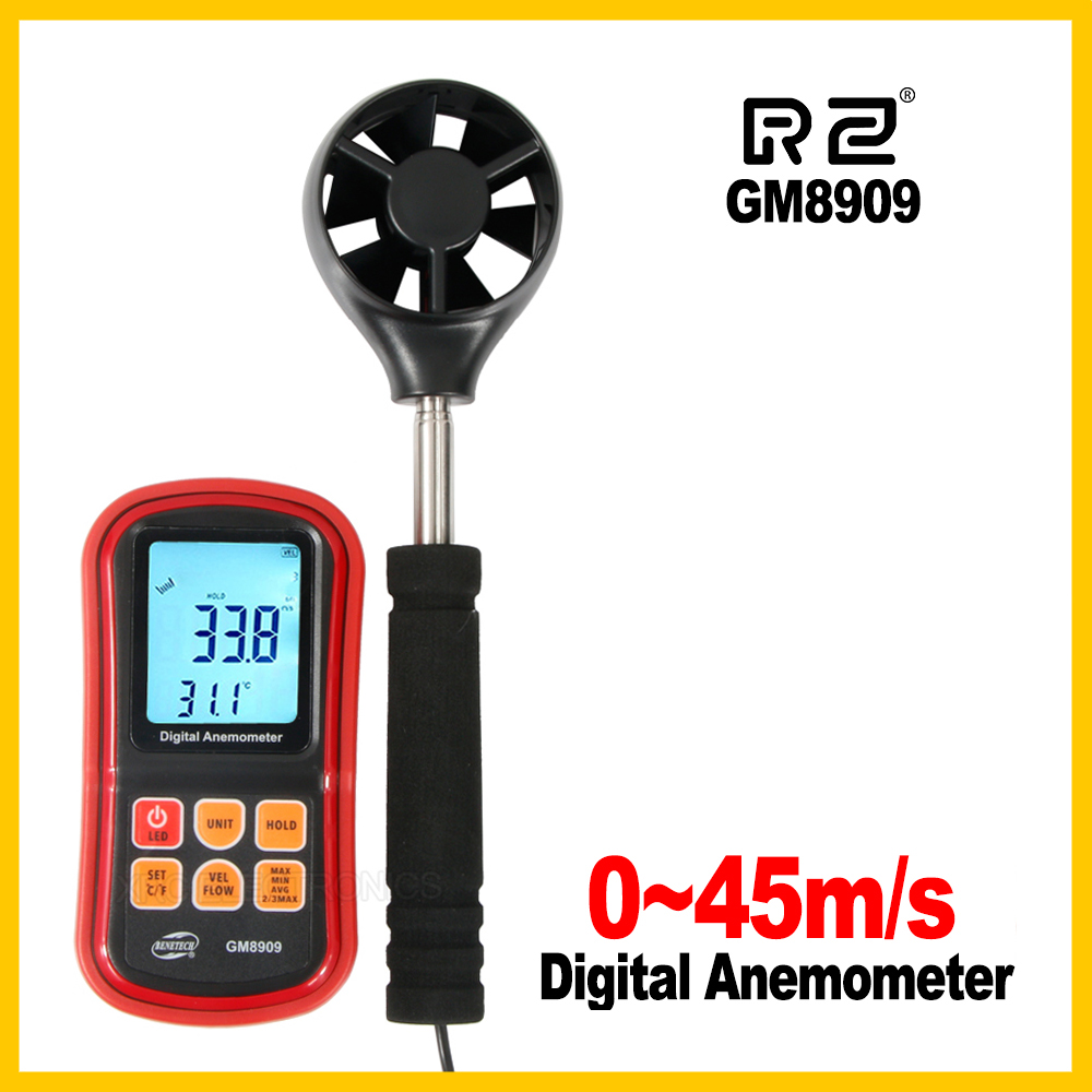 цена на Digital Anemometer wind speed meter anemometer CFM/CMM GM8909 Air Flow instrument Gauge Temperature LCD Display