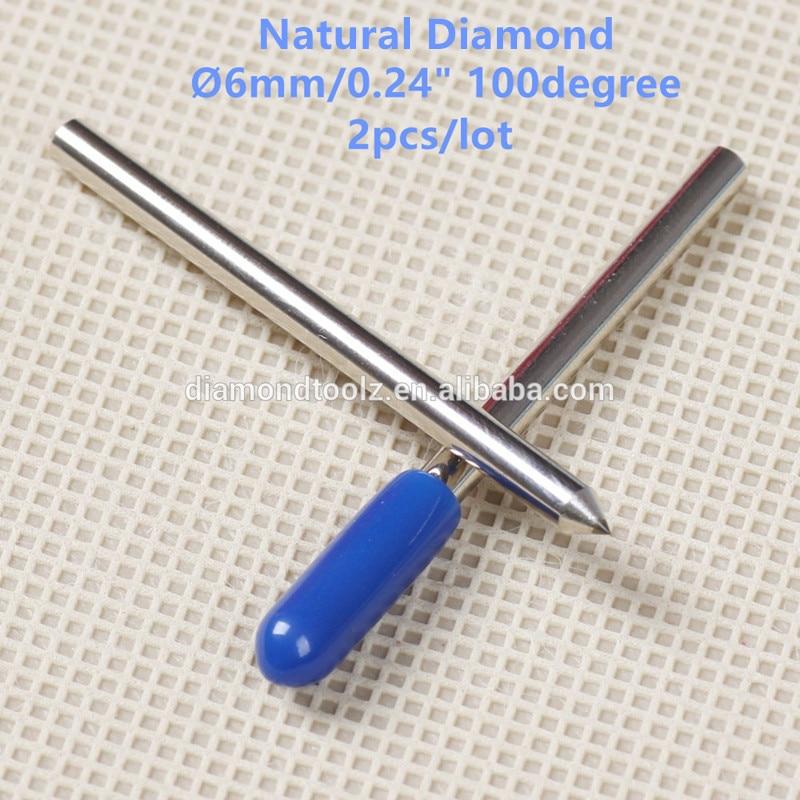 Talentool  Free Shipping 2pcs/set  Natural Diamond Engraver Bit with 100 degree Dia 6mm  for cnc machine  цены