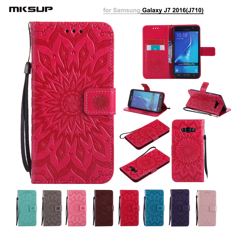 Phone Case For Samsung Galaxy J7 2016 Sunflower Embossing Pattern Flip Wallet Cover For Samsung J7 J710 J7108 Coque Leather Bags