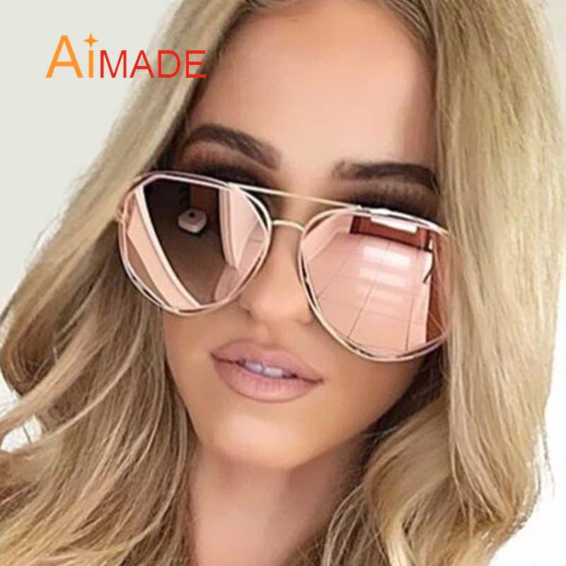 e8f3f3e98a Aimade 2018 New Hexagon Aviation Sunglasses Women Superstar Men Brand  Designer Stylish Pilot Pink Mirror Sun
