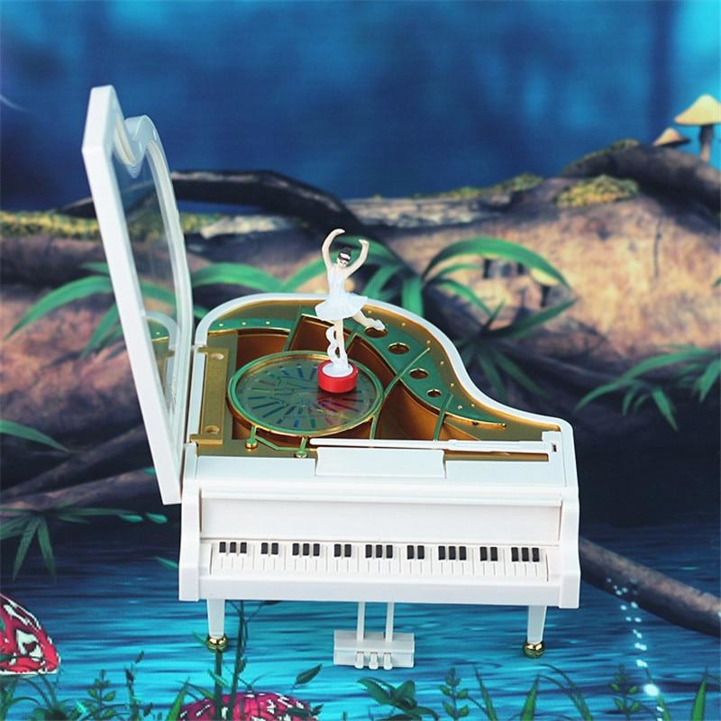 2017 Mechanism font b Music b font Box House White Piano Musical Box Movement Girls boys