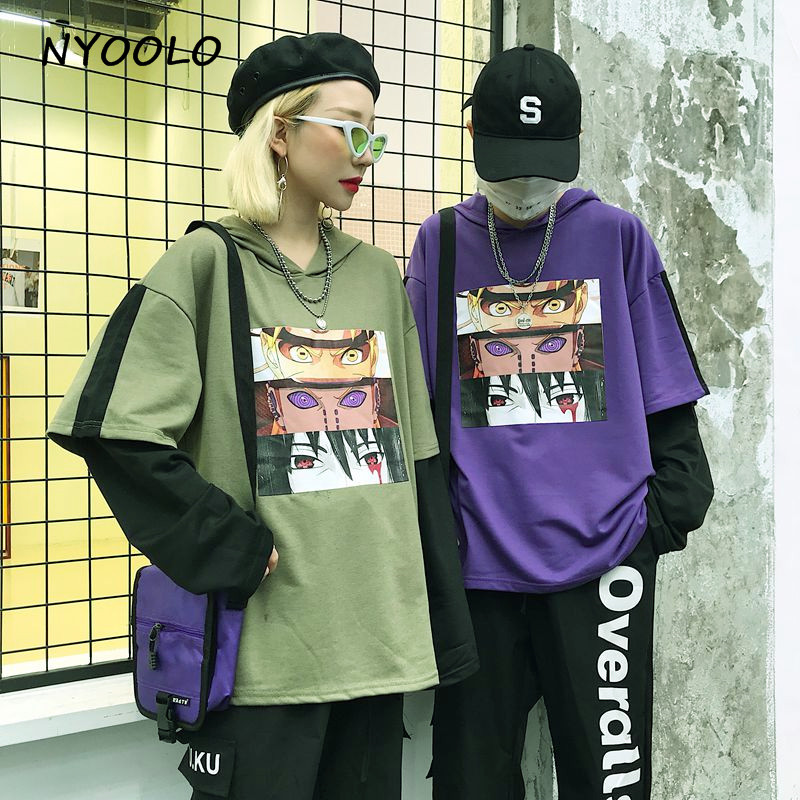 NYOOLO Harajuku Style Cartoon Comic Print Hoodies Patchwork Fake 2 Piece Hooded Pullovers Sweatshirt Women/men Clothing Tops