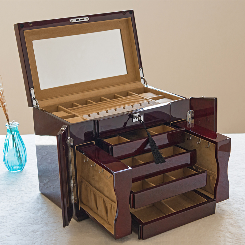 Export Pure Solid Wood Imported Oak Piano Lacquer Jewelry Box Jewelry Collection Box with Multilayer Lock russia s old elm purple yu pure real wood double box box jade jewelry bracelet receive a cassette of the lock